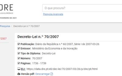 Decreto-Lei n.º 70/2007, de 26 de março