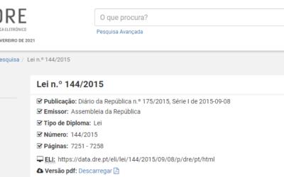 Lei n.º 144/2015, de 08 de setembro